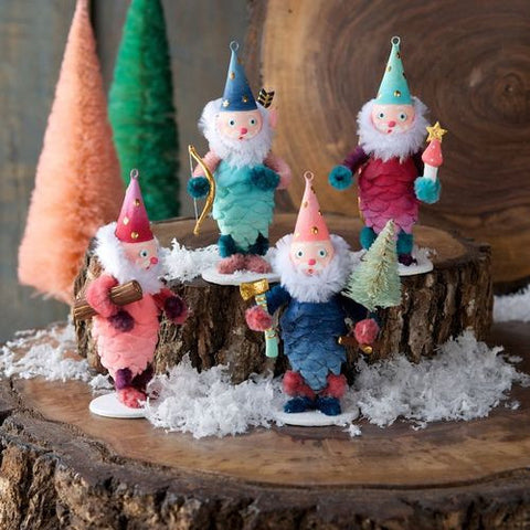 Darling Forest Gnome Christmas Vintage Pinecone & Pipecleaner Elves - Set of 4