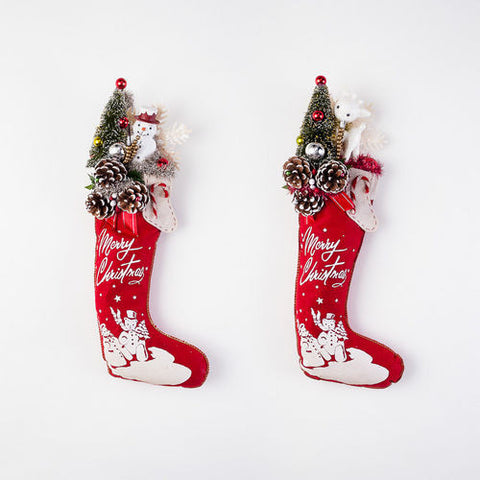 Vintage Style Christmas Stocking, Felt with Reindeer or Snowman and Bottle Brush Tree, 22