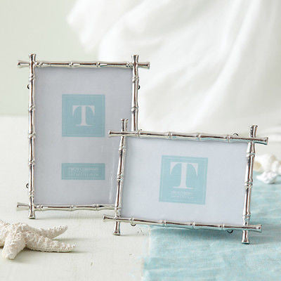 Silver Bamboo Photo Frames 4x6 or 5x7 by Two's Company  NEW Elegant Wedding Gift