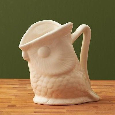 Two's Company White Ceramic Owl Creamer ~ New