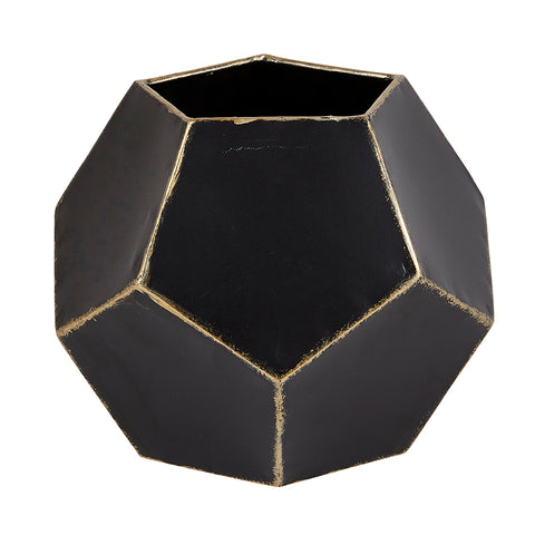 Black Modern Hexagon Planter Garden Decor
