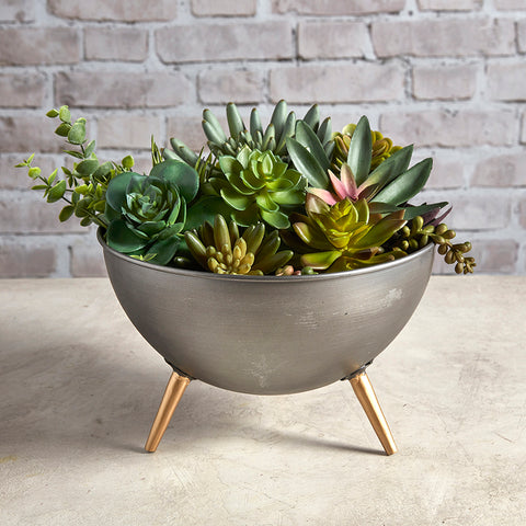Metal Round Bowl Planter with Legs  Mid Century Vintage Styling