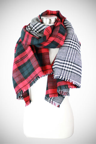 Red/Black/White Plaid Snuggly Oversize Reversible Blanket Scarf