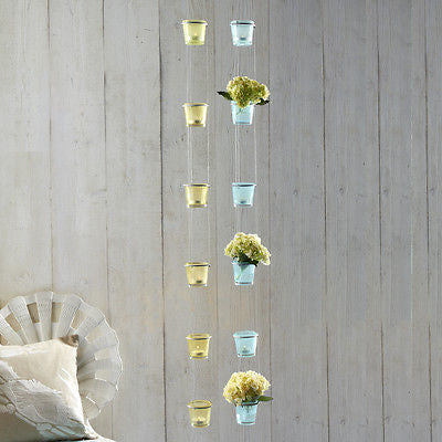 Stringed set of 6 Hanging Tealights Glass Holders in Seafoam green or Turquoise