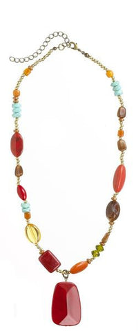 Beaded Fall Color Multi-stone Acrylic Necklace ~ Reds, browns, greens  ER30204