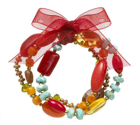 Beaded Holiday Color Multi-stone Bracelet ~ Reds, browns, greens  ER30205