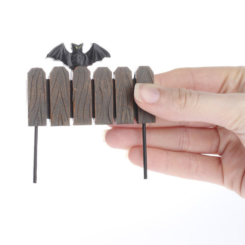Halloween Ganz Mini Bat on Fence Stake for Fairy Garden  ~ Polystone