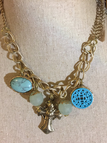 Bib Necklace Cross and Turquoise 16