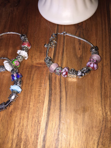 Add A Bead Bracelet Pinks & Hearts Sz 8