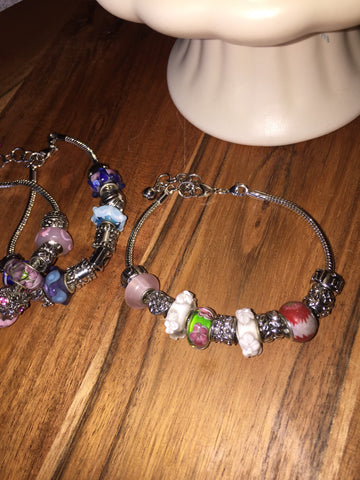 Add A Bead Bracelet Pinks & Flowers Sz 8