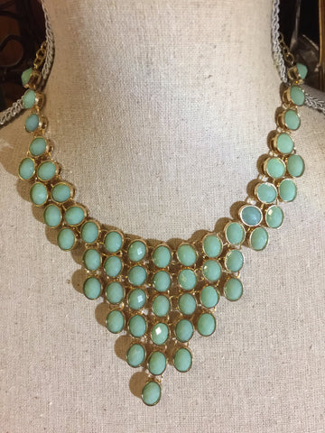Goldtone and Turquoise Bib Necklace