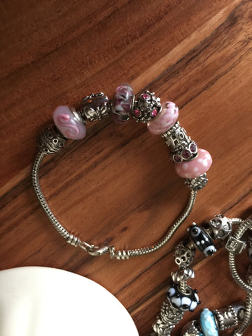 Add A Bead Bracelet Pinks & Butterfly Sz 8