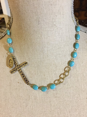 Dyed Turquiose Howlite Cross 16