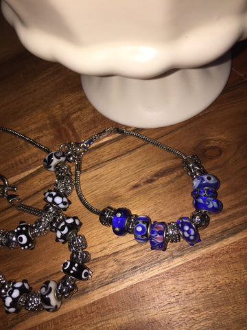 Add A Bead Bracelet Blues, Heart Sz 8