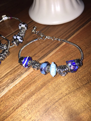 Add A Bead Bracelet Blues, Girl & Boy Sz 8