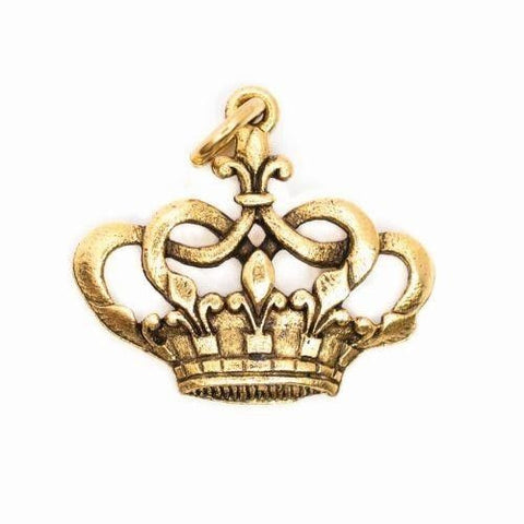 Beaucoup Designs Aimez Large Crown Charm with rhinestone 14 kt gold plated Made in USA