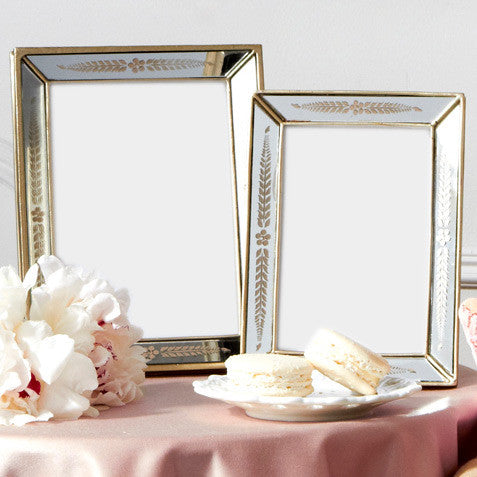 Antiqued Gold Leaf Photo Frames 4x6 or 5x7 by Two\'s Company Wedding Gift