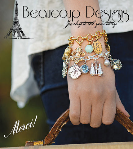 Beaucoup Designs Heart multi-clasp Charm Bracelet Sterling Silver plated Made in USA