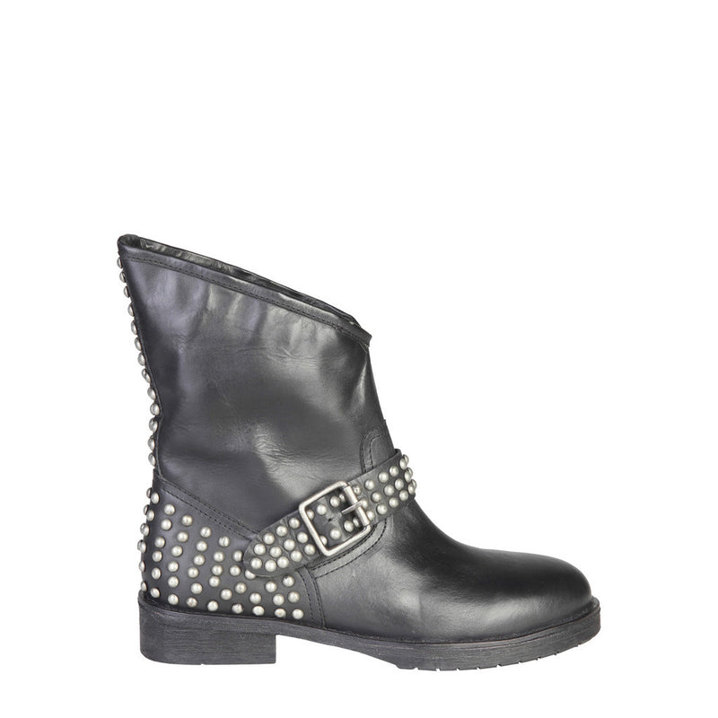 Ana Lublin Women's Studded Leather Ankle Boots with Decorative Buckle - SOFI