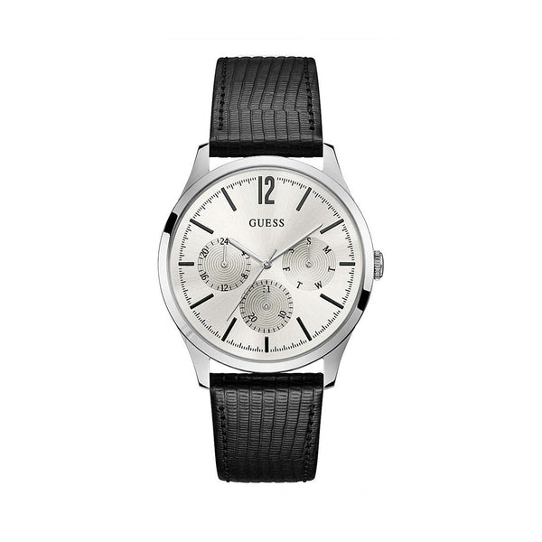 Guess Men's Leather Strap Black Quartz Analog Watch - W1041