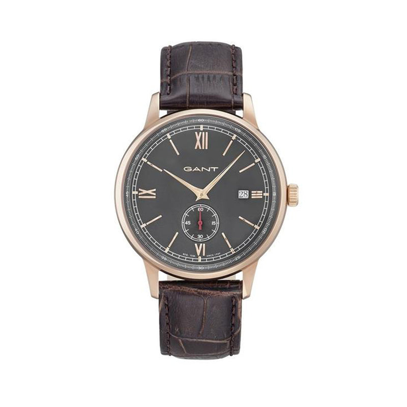 Gant Men's Leather Strap Brown Quartz Analog Watch - FREEPORT