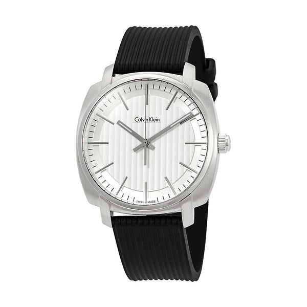 Calvin Klein Men's Rubber Plastic Strap Black Quartz Analog Watch - K5M311D6