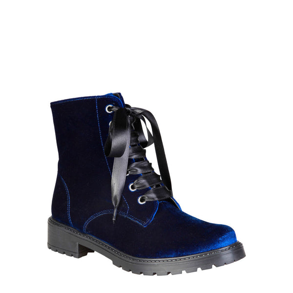 Ana Lublin Women's Velvet Amphibian Boot with Satin Laces and Side Zip - ALICIA