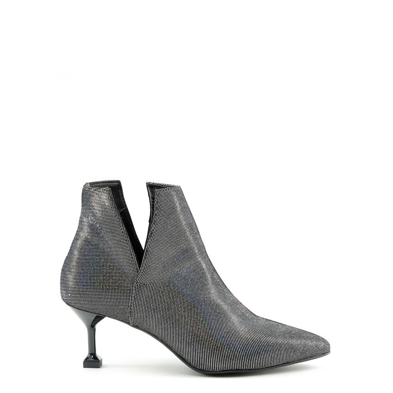 Made In Italia Women's Ankle Boots In Laminated Leather, Lateral Slits And Square Heels - ZOE