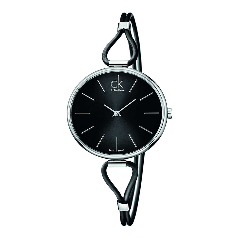 Calvin Klein Women's Leather Strap Grey Quartz Analog Watch - K3V231