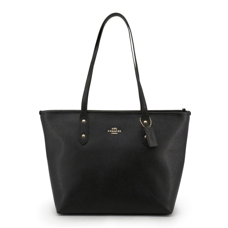 Women's Medium Pocketed Top Zip Leather Tote Bag