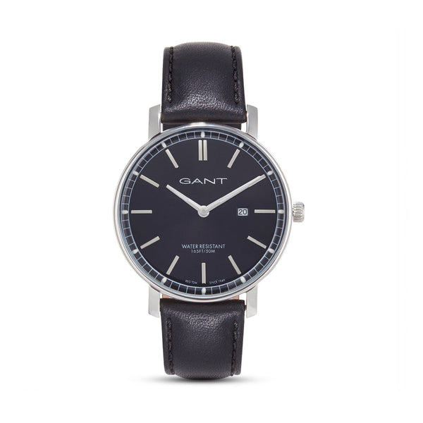 Gant Men's Leather Strap Black Quartz Analog Watch - NASHVILLE