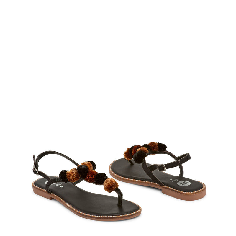 Gioseppo Women's Leather Ankle Strap Buckle Flip flops - SARIDA