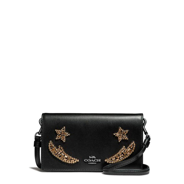 Women's Black Leather Crossbody Bag With Crystal Embellishments