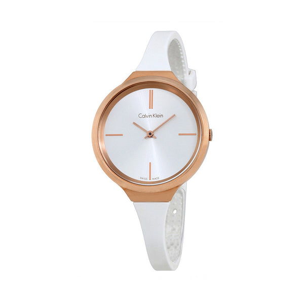 Calvin Klein Women's Silicone Strap White Quartz Analog Watch - K4U236