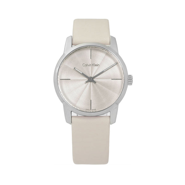 Calvin Klein Women's Leather Strap White Quartz Analog Watch - K2G23