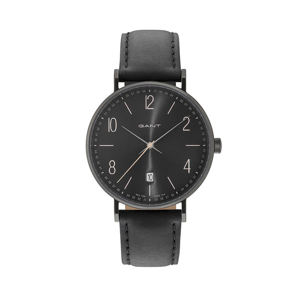 Gant Men's Leather Strap Black Quartz Analog Watch - DETROIT