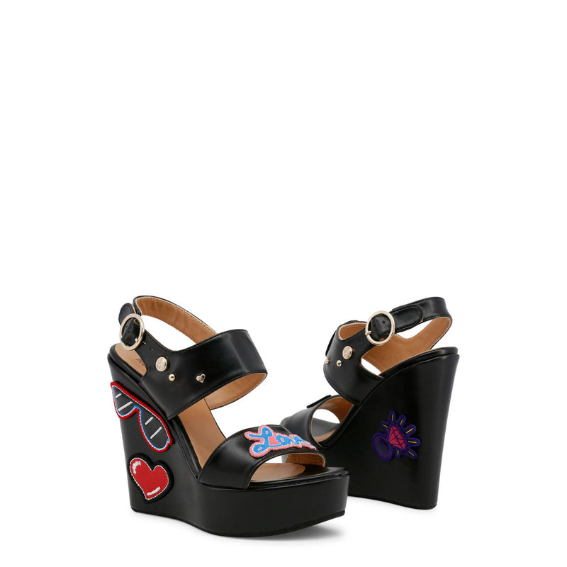 Love Moschino Women's Ankle Strap Buckle Wedges - JA1603CE15IC