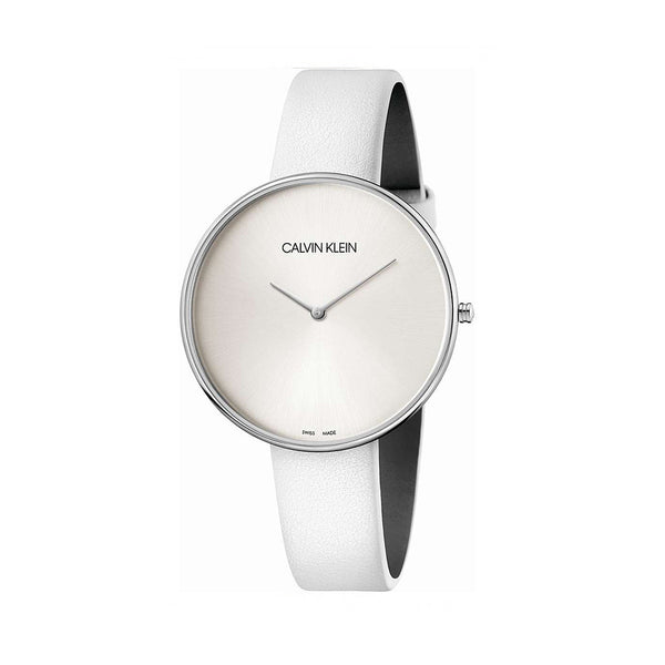 Calvin Klein Women's Leather Strap White Quartz Analog Watch - K8Y23