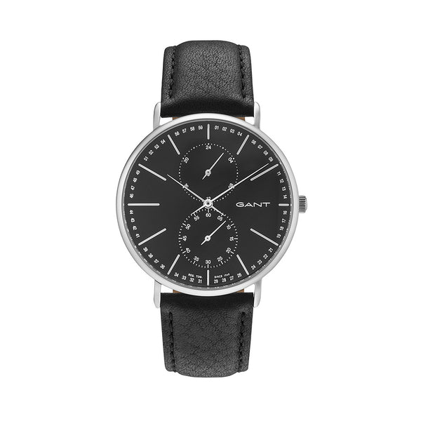 Gant Men's Leather Strap Black Quartz Analog Watch - WILMINGTON