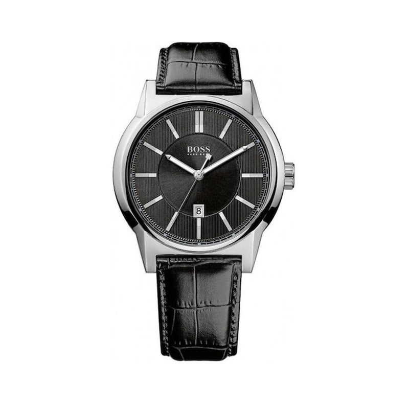 Hugo Boss Men's Leather Strap Black Quartz Analog Watch - 1512911