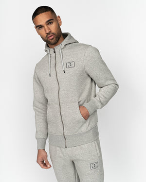 Baresi Zip Thru Hoodie Light Grey Marl