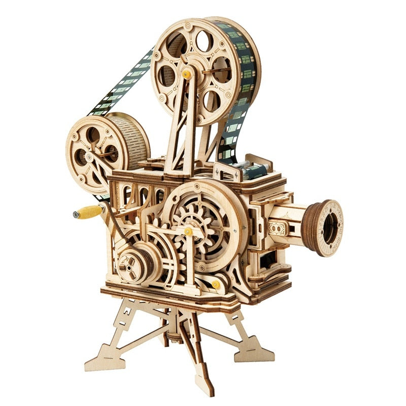 Robotime 183pcs Retro Diy 3D Hand Crank Film Projector Wooden Model Building Kits Assembly Vitascope Toy Gift for Children Adult (Film Projector)