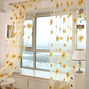 Sunflower Pattern Tulle Curtain Home Decor Voile Kitchen Balcony Room Floral Window Blind Screening Curtain