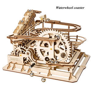 Robotime Rokr 4 Kinds Marble Run Game DIY Waterwheel Wooden Model Building Kits Assembly Toy Gift for Children Adult