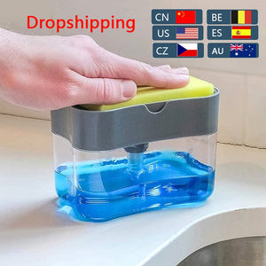 Soap Dispenser Pump With Sponge Manual Press Cleaning Liquid Dispenser Container Manual Press Soap Organizer Kitchen Tool