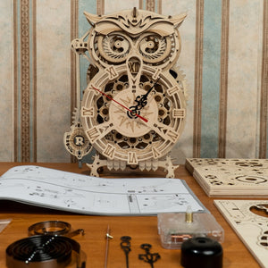 Robotime Rokr 161pcs Creative DIY 3D Owl Clock Wooden Puzzle Game Assembly Toy Gift for Children Teens Adult
