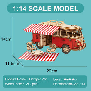 Robotime 242pcs DIY 3D Camper Van Wooden Recreational Vehicle Puzzle Game Assembly Car Toy Gift for Children Teens Adult