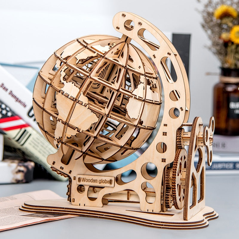147pcs DIY Rotatable 3D Globe Laser Cutting Wooden Puzzle Game Assembly Toy Gift for Children Teens Adult