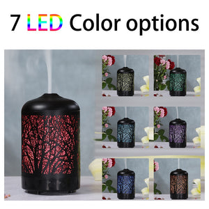 FUNHO Electric Ultrasonic  Aromatherapy Essential Oils Diffuser Air Humidifier Metal Mist Maker 7 Colors LED  Light For Home