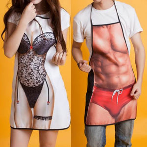 Funny 3D Kitchen Apron Digital Printed Sexy Naked Men Aprons Super muscle Hero Pattern Dinner BBQ Barbecue Cooking Uniform